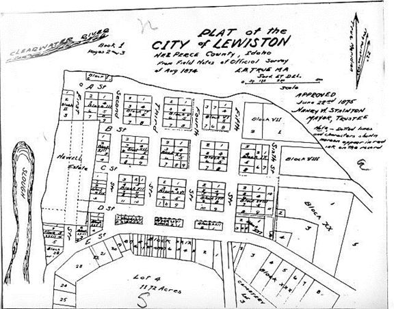 Downtown Lewiston Map 1874