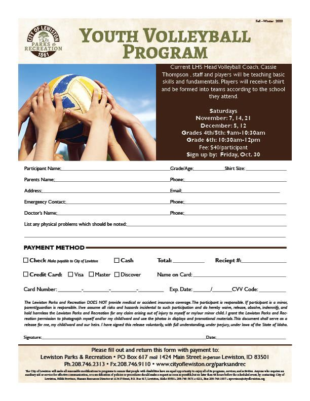 Youth Volleyball Program Registration Form