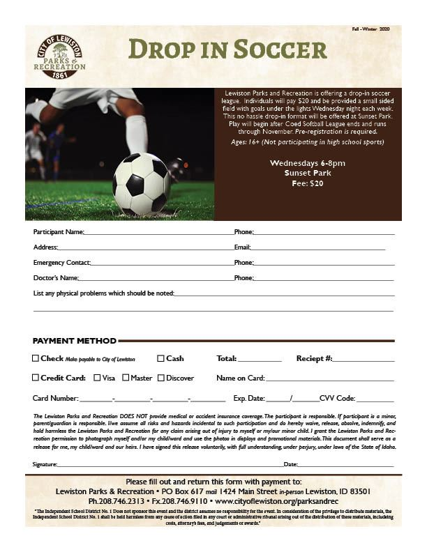 Drop In Soccer Registration
