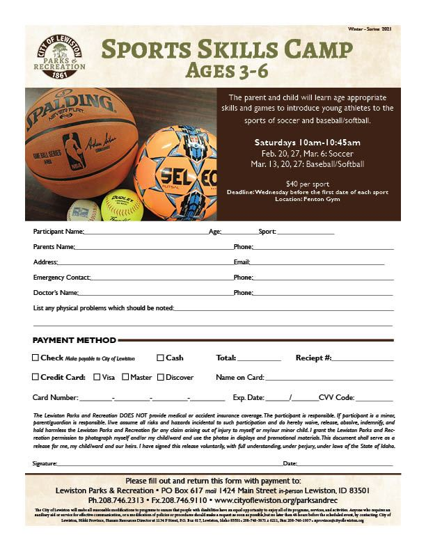 2021 Sports Skills Camp 3-6 Age Group